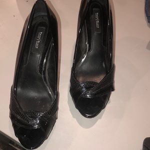 WHBM black patent pumps